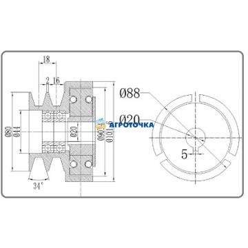 Муфта сцепления со шкивом на вал Ø 19,05 мм 168F/170F -